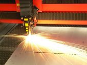 Lasercutting close-up from machinery industry