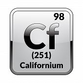 Californium Symbol.chemical Element Of The Periodic Table On A Glossy White Background In A Silver F poster