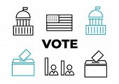Governance Icon Election. Voting And Elections Linear Icons. Government Political poster