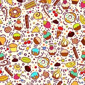 Sweet Seamless Pattern With Cupcakes, Sweets, Ice-creams, Cookies. Pastry Seamless Pattern. For Birt poster