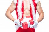 Santa Claus. Fitness Santa Claus Isolated On White Background. Sexy Fitness Santa Claus. Muscular Sa poster