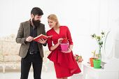 Knowledge Concept. Bearded Man Read Book About Growing Plants To Woman, Knowledge. Gardening Knowled poster