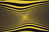 Abstract Pattern. Texture With Wavy Lines. Optical Art Background. Wave Design Black And Yellow. Dig poster