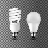 Energy Saving Realistic Vector Light Bulbs On Transparent Background. Compact Fluorescent Light Bulb poster