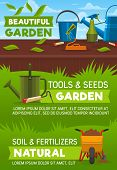 Gardening Tools And Equipment, Garden Shop Vector Design. Shovel, Spade And Fork, Watering Can, Hose poster