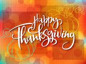 Vector Greeting Thanksgiving Banner With Hand Lettering Label - Happy Thanksgiving - With Doddle Pum poster