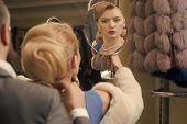Sensual Woman In Fur, Man Help Fit Pearl Jewelry, Shopping. Sensual Woman In Fur Coat With Man, Shop poster