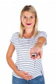 Attractive Young Woman Having Abdominal Pain, Holding Medical Drugs On Isolated Background poster