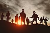 Group Of Zombies Attack At Sunset Silhouette poster