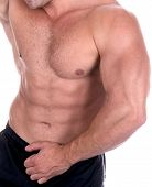 stock photo of body builder  - Athletic sexy male body builder - JPG