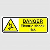 Plate: danger. Electric Shock Risk (panoramic Sign). Sign: danger. Electric Shock Risk (panorami poster