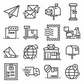 Vector Line Post Service Icons Set. Postal Stamp, Scale, Express Delivery, Post Office, Tracking Num poster