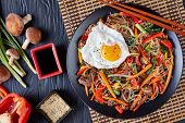 Sweet And Savory  Korean Japchae: Bouncy Cellophane Noodles With Mixed Crunchy Vegetables: Spinach,  poster