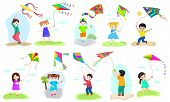 Kids Kite Vector Child Character Boy And Girl Playing Childly Kiteflying Activity Illustration Set O poster