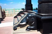 foto of kanyakumari  - Elephant black marble stairs  detail of Swami Vivekananda memorial - JPG
