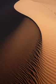 stock photo of barchan  - Sand dunes of Erg Chebbi in the Sahara Desert - JPG