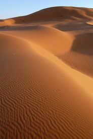 image of barchan  - Sand dunes of Erg Chebbi in the Sahara Desert - JPG