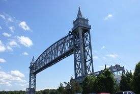 image of cape-cod  - Railroad bridge lifted to allow the travel of ships to pass through on the Cape Cod Canal - JPG