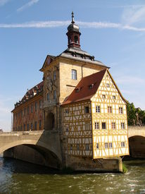 picture of regnitz  - Old City Hall for Bamberg on a Bridge over the River Regnitz - JPG