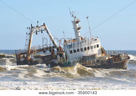 Shipwreck Along The Skeleton Coast