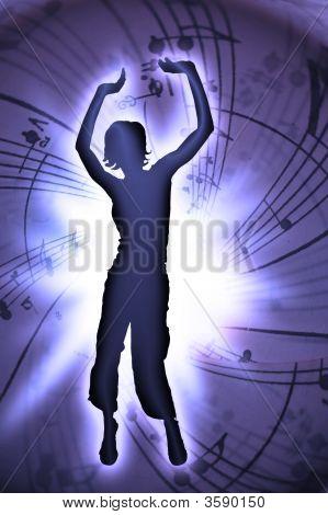 Blue Dancing Woman In Disco