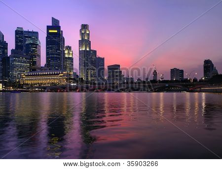Singapore Central Business District At Dusk