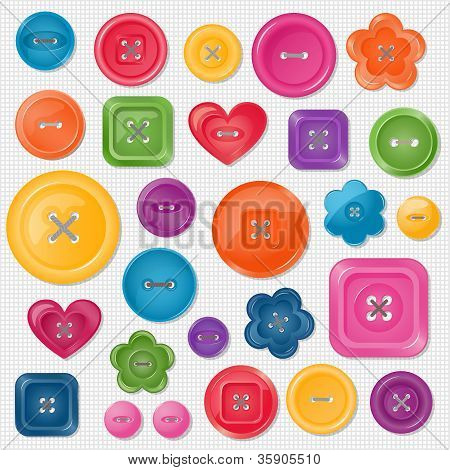 Set of colored vector buttons