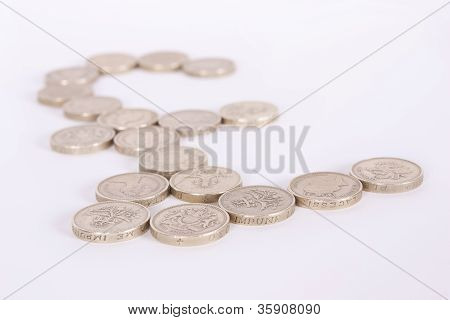 British Pound Sign in Pound Coins