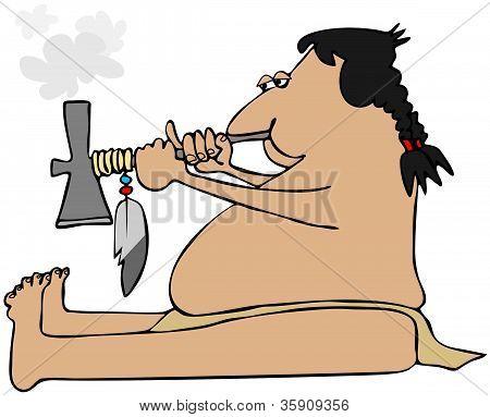 Indian smoking a tomahawk peacepipe