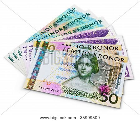 Stack of 100, 50 and 20 swedish krona banknotes