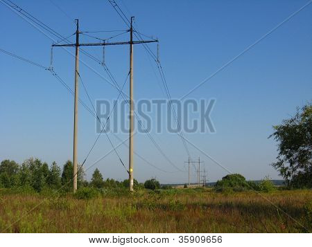 high-voltage line in the field