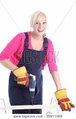Happy Woman Doing Diy Renovations