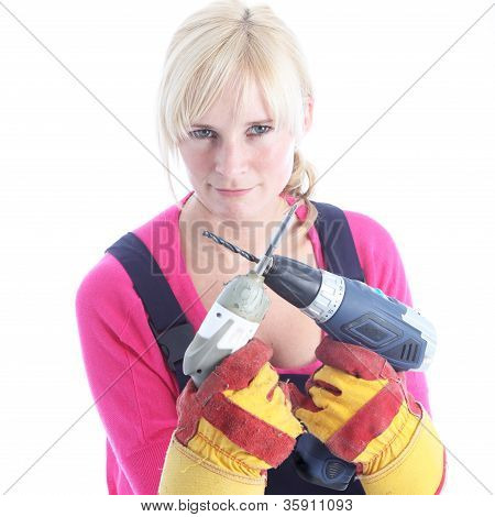 Woman Diy Holding Power Tools