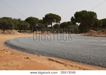 Highway under construction -new asphalt pavement works