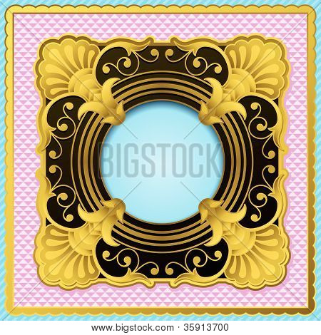 Ornate gold and black frame