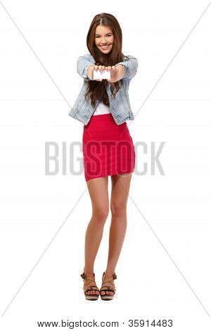 Happy Teenager Giving A Blank Businesscard