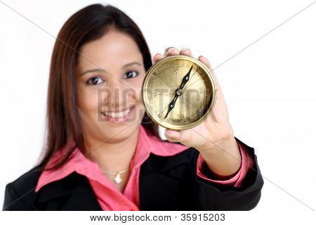 Business Woman With Compass