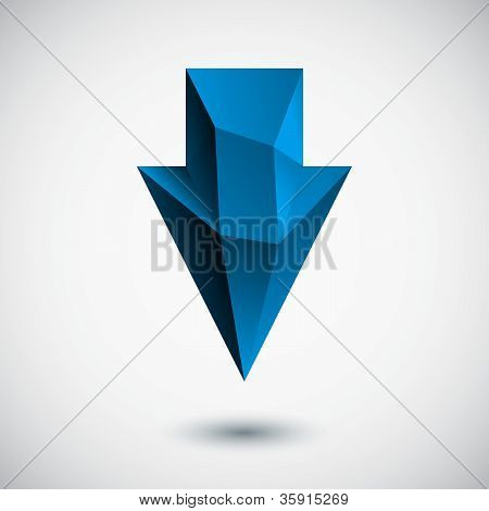 3d cyan down arrow sign with light background