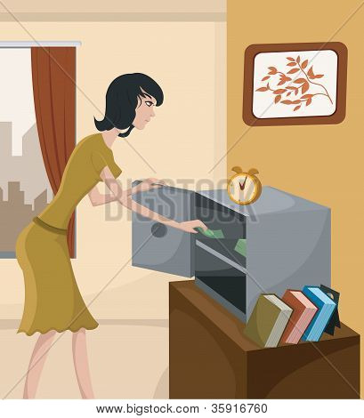 A Woman Putting Money In A Home Safe