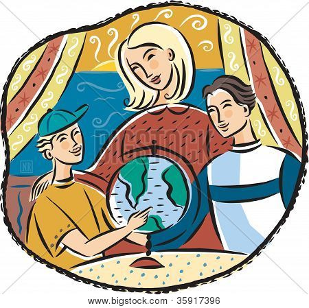 A Mother With Two Boys Looking At A Globe