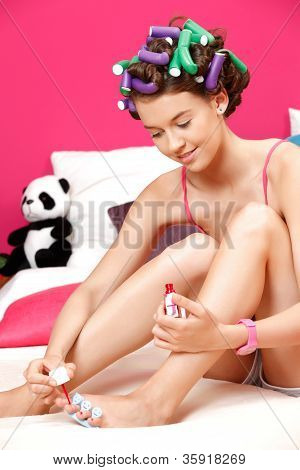 Young Teenager Preparing Herself For Party