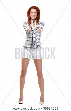 Smiling Redhead Woman With Thumbs Up