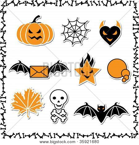 Set of cute vector Halloween icons for your design.