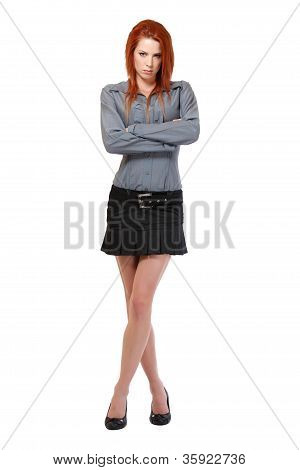 Serious Redhead Woman Posing On White Background