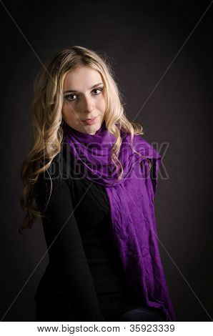 Blonde In A Violet Scarf