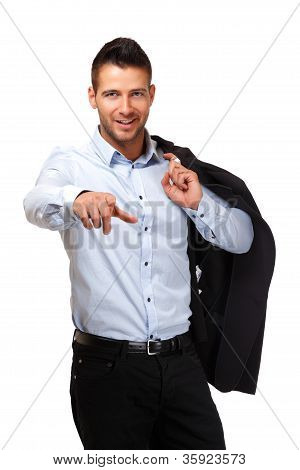 Handsome Businessman Pointing At You