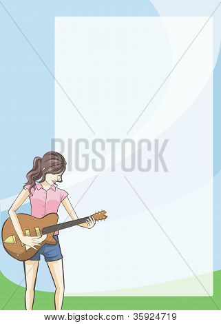 Girl On Guitar Diary And Notepad.
