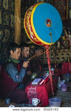 Monks Are Praying In One Of Nepal's Temple