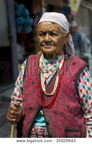 Portrait Of Old Tibetan Woman
