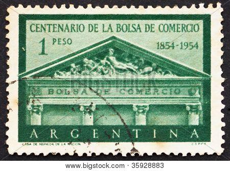 Postage stamp Argentina 1954 Buenos Aires Stock Exchange